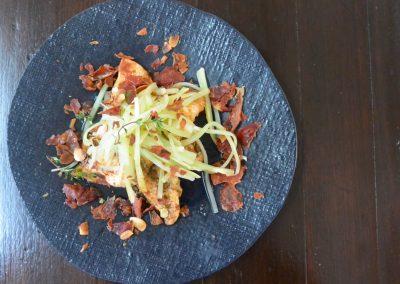 CWS-0141-2 Harissa Spiced John Dory, Broccoli Stalk, Crisp Prosciutto and Almonds