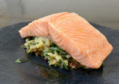 CWS-0157-3 Steamed Atlantic Salmon, Prawn, Kale and Bacon Colcannon