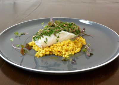CWS-0172-1 Steamed Monkfish, Olive Crust, Pearl Cous Cous