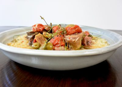 CWS-0189-2 Veal Osso Bucco, Spiced Olives, Tomatoes and Risoni