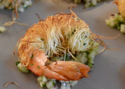 CWS-0217-2 Katafi wrapped prawns, pear and green chilli salsa