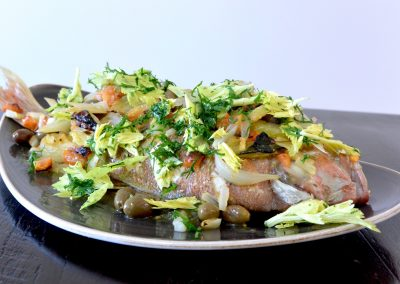 CWS-0237-1 Baked Whole Snapper with Mediterranean Vegetables