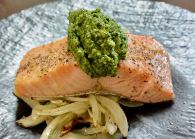 CWS-0263-1 Combi Roasted Lemon and Black Pepper Salmon, Roasted Fennel, Spinach and Cashew Pesto