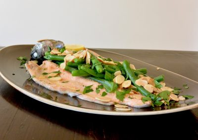 CWS-0264-3 Steamed Rainbow Trout, Beans, Almonds and Lemon Oi